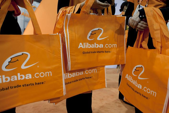 Alibaba bags get distributed at the 2012 International Consumer Electronics Show in Las Vegas, the U.S., January 2012. Photo: Bloomberg