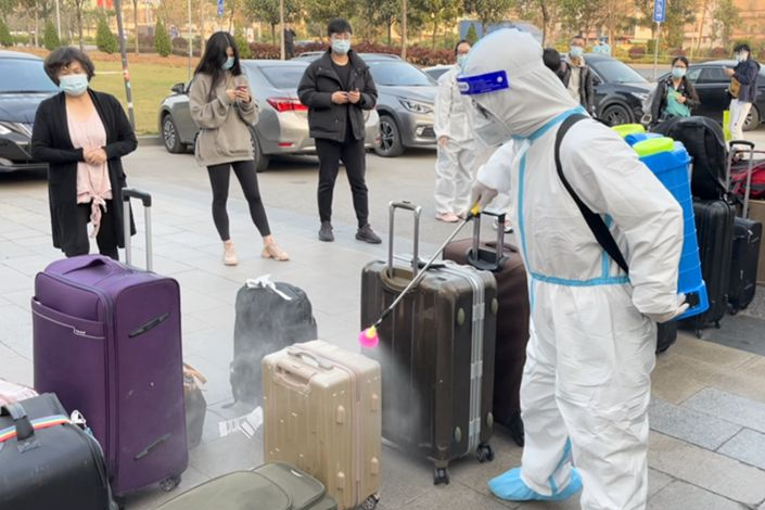 Baggage is fumigated at Guangzhou Airport.
