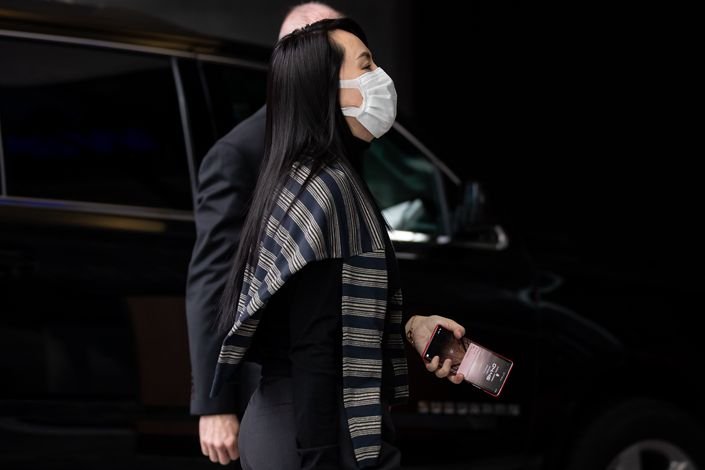 Meng Wanzhou, chief financial officer of Huawei Technologies Co., leaves Supreme Court during a break in Vancouver, British Columbia, Canada, on March 1, 2021. Photo: Bloomberg