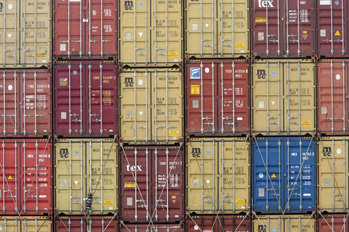 Containers on a cargo ship. Photo: Bloomberg