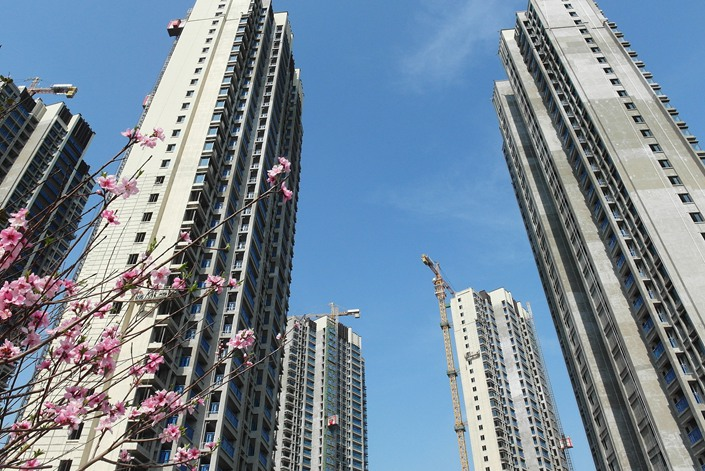 A housing complex developed by Poly Real Estate is under construction on March 20 in Yichang, Central China's Hubei province. Photo: VCG