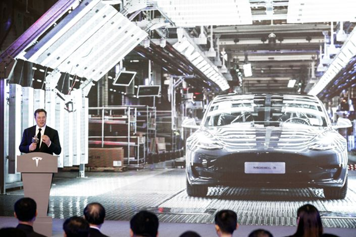 Tesla CEO Elon Musk speaks during the Tesla China-Made Model 3 Delivery Ceremony at the company's Gigafactory in Shanghai on Jan. 7, 2020. Photo: Bloomberg
