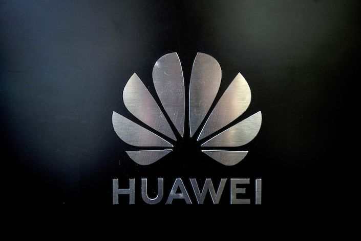 The logo for Huawei Technologies Co. is seen at the company's event to unveil the