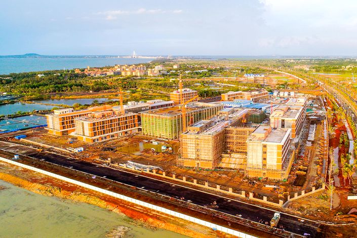Construction continues on the Harrow School project in Jiangdong New Area of Haikou, South China's Hainan Province, on June 2. Photo: IC Photo