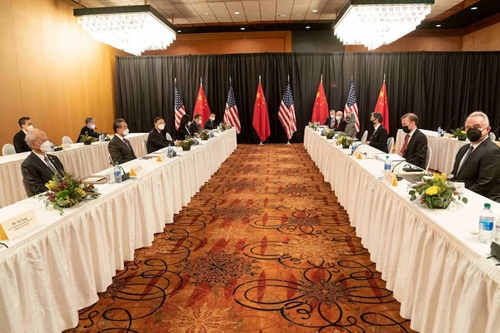 The first high-level meeting between China and the U.S. under the Biden administration began Thursday in Anchorage, Alaska.