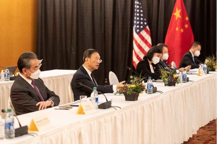 Chinese politburo member Yang Jiechi speaks to his U.S. counterparts Thursday at the opening session of the China-U.S. talks in Anchorage, Alaska, in the U.S. Photo: Liu Jie/Xinhua