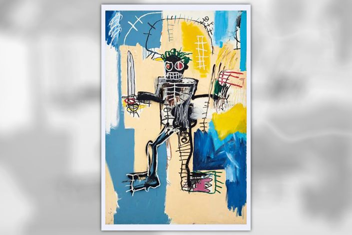 "Jean-Michel Basquiat's painting ""Warrior"" was sold Tuesday at a single-lot Christie's auction for $41.9 million, including commissions."