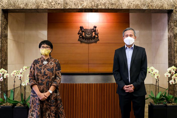 Meeting between Minister for Foreign Affairs Dr Vivian Balakrishnan and Indonesian Minister for Foreign Affairs Retno Marsudi, 18 February 2021. Photo:  Ministry of Foreign Affairs, Singapore