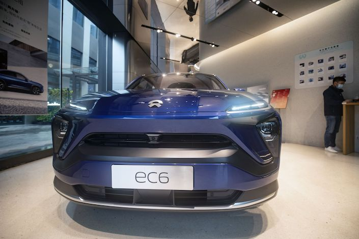 The Nio Inc. EC6 electric sport utility vehicle (SUV) at the automaker's dealership in Shanghai