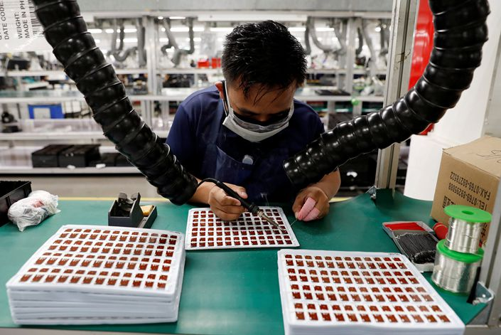 An electronics factory in the Philippines. Photo: Reuters