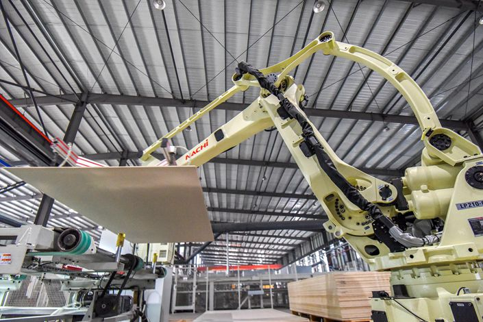 New constuction materials are produced at a factory in Jingzhou, Hubei province. Photo: VCG