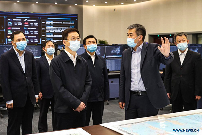 Vice Premier Han Zheng (center left) is leading China's new air traffic management body. Photo: Xinhua