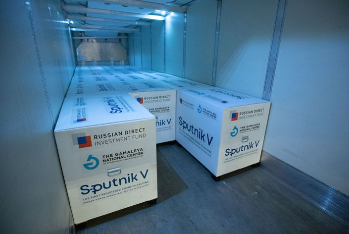 Boxes of the Russian-developed Sputnik V Covid-19 vaccine sit in a refrigerated truck at the cargo terminal at Sheremetyevo International Airport OAO in Moscow on Feb. 11. Photo: Bloomberg