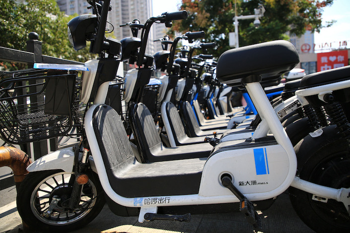 Hello's electric bikes in Xiangyang, Hubei province.