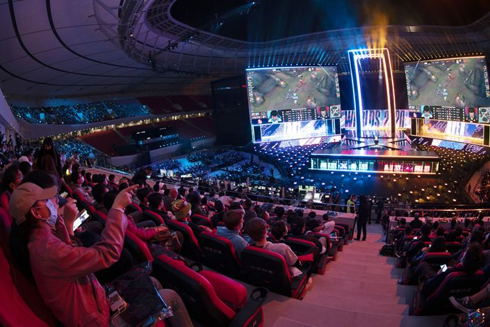 Viewers inside the Pudong Football Stadium for the League of Legends 2020 Worlds Finals in Shanghai on Oct. 31