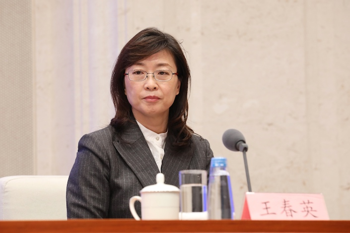 Wang Chunying, deputy head of the State Administration of Foreign Exchange, at a press conference April 12.