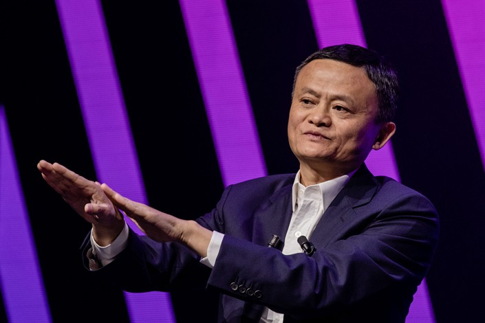 Jack Ma gestures while speaking during a fireside interview at the Viva Technology conference in Paris on May 16, 2019. Photo: Bloomberg