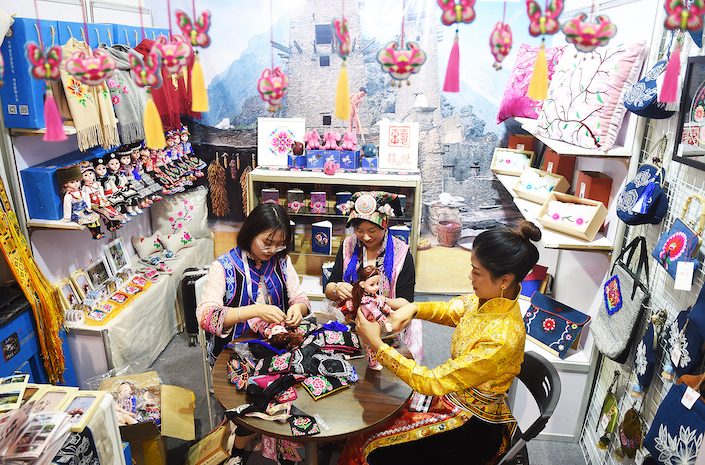 A doll vendor at Yiwu's small commodities market.
