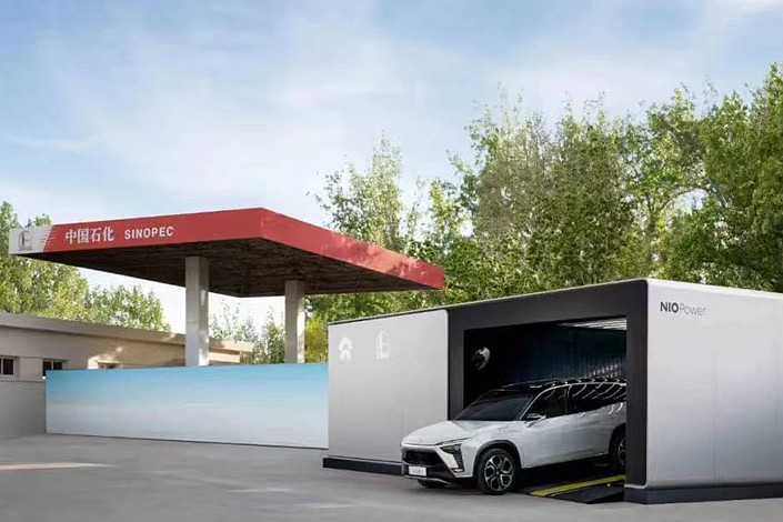 The deal with Sinopec will bring Nio's total number of battery changing points in China to 500, company founder Li Bin said Thursday. Photo: Nio
