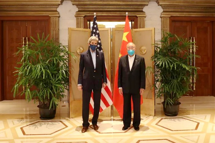 China Special Envoy for Climate Change Xie Zhenhua and U.S. Special Presidential Envoy for Climate John Kerry met in Shanghai on April 15 and 16. Photo: Ministry of Ecology and Environment of the People's Republic of China
