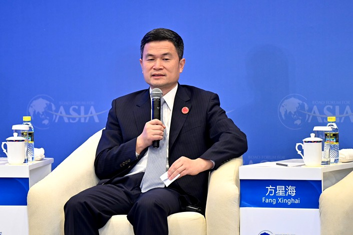 Fang Xinghai, vice chairman of the China Securities Regulatory Commission, speaks at the Boao Forum for Asia in Hainan province on April 19. Photo: VCG