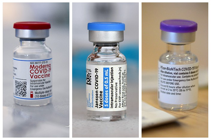From left: Moderna, J&J and Pfizer Covid-19 vaccines