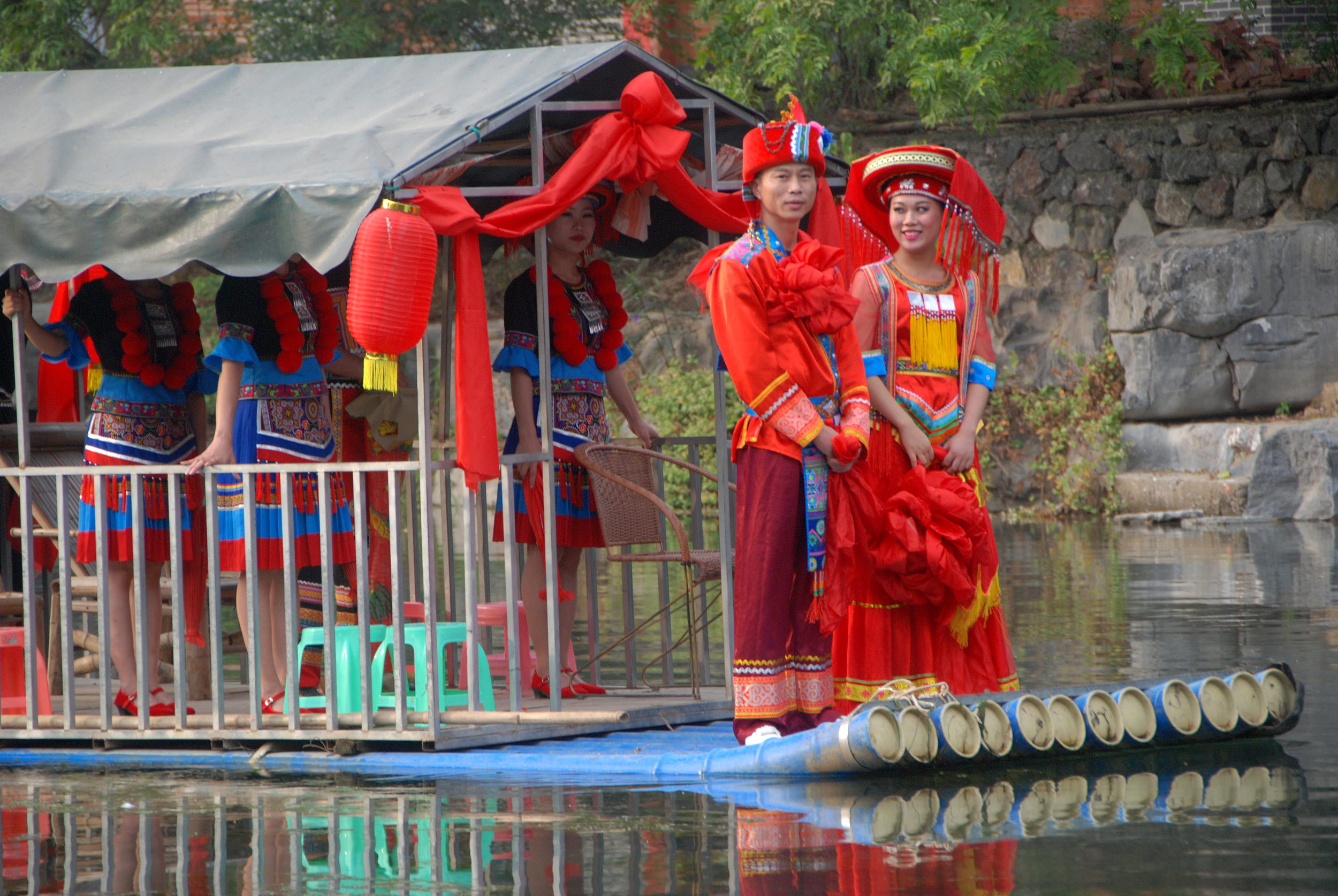 A bride and groom at their wedding in the Gongcheng Yao autonomous county in Southwest China's Guangxi Zhuang autonomous region on Nov. 4, 2017. Photo: VCG