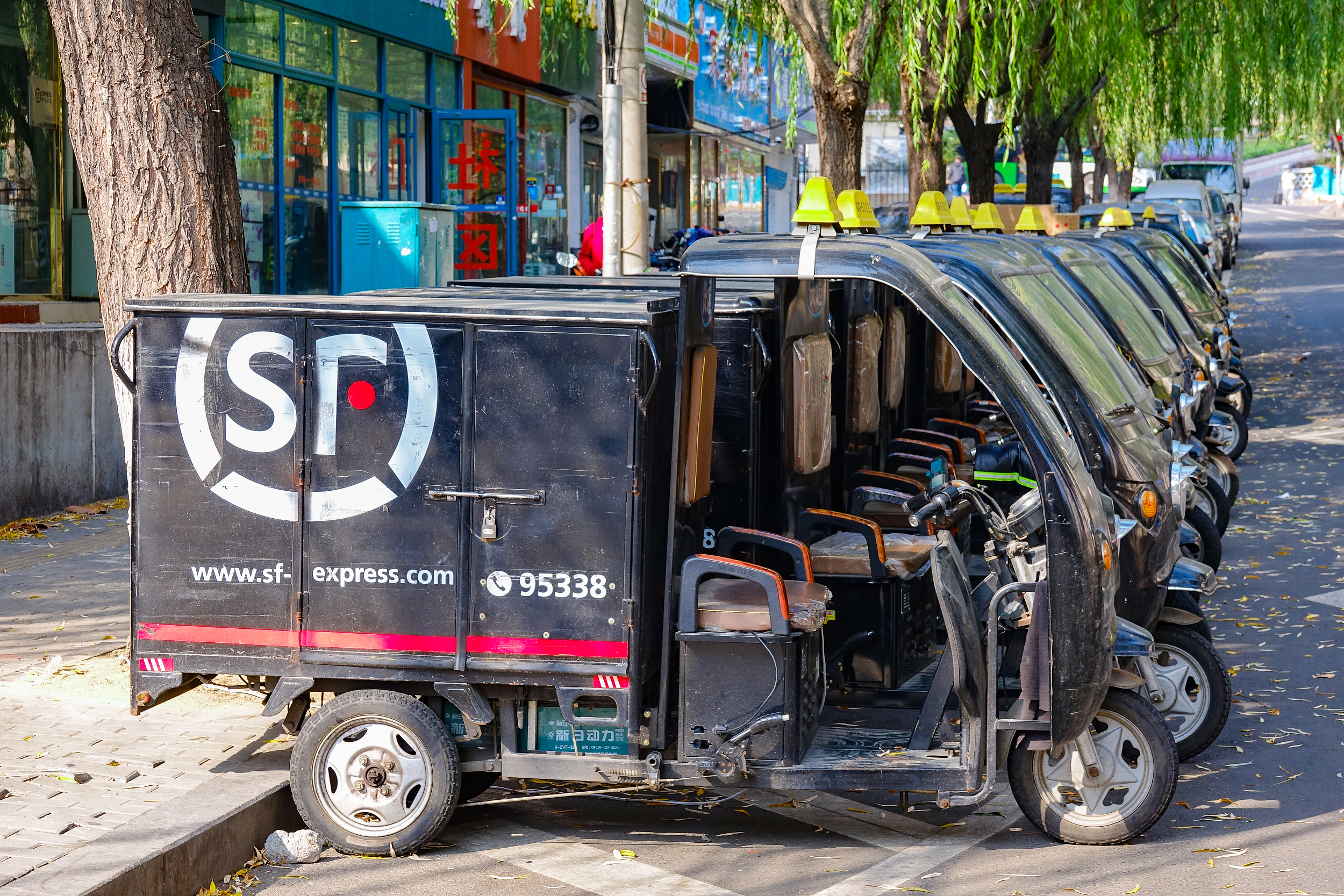 SF delivery vehicles in Qingdao, Shandong province, on Nov. 16, 2019. Photo: VCG