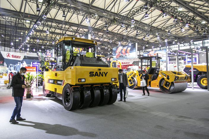 Sany Heavy Industries displays its road roller at the Bauma China 2020 construction machinery show in Shanghai on Nov. 25, 2020. Photo: VCG