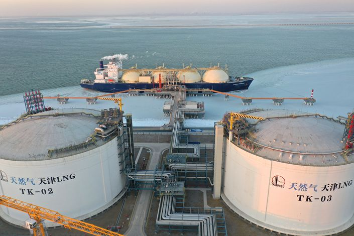 A view of Sinopec Natural Gas Company Tianjin LNG receiving station on January 7. Photo: VCG