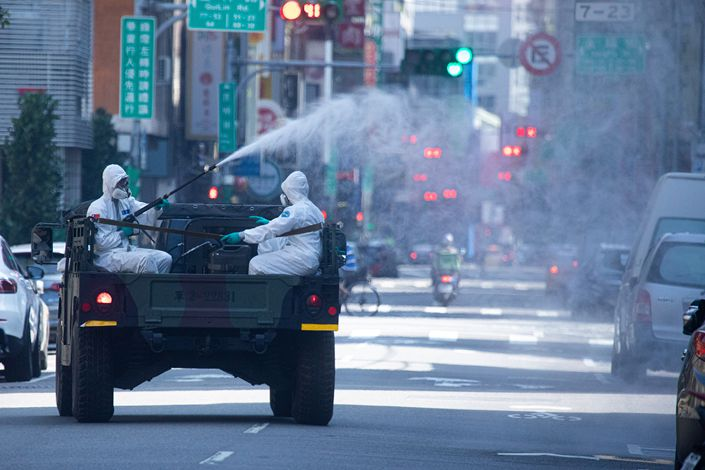 The streets of Taipei's Wanhua district are disinfected on May 16. Photo: VCG