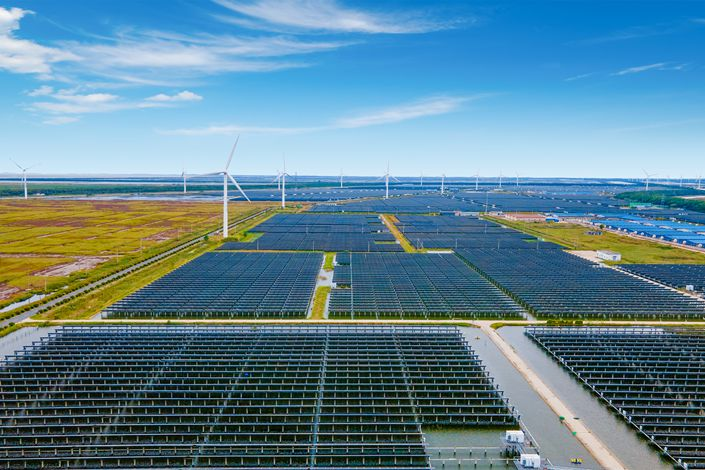 A combined wind and solar power station in Yancheng, East China's Jiangsu province, on Oct. 5, 2020. Photo: VCG
