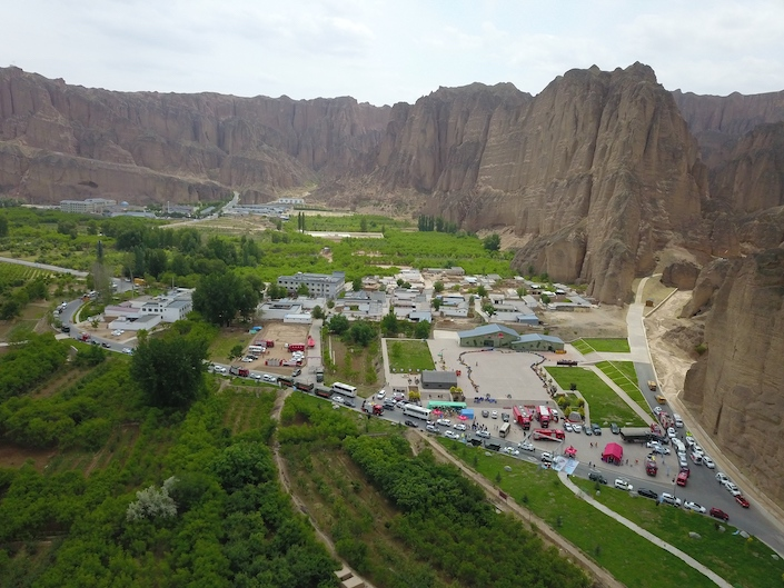 Rescue vehicles at the 2021 Yellow River Stone Forest ultramarathon in Baiyin May 22.