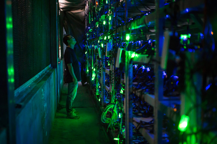 Mining equipment in a Bitcoin mine in Sichuan, China.