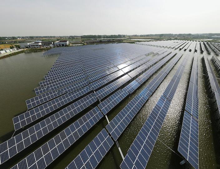 A solar power project in Yangzhou, Jiangsu province.