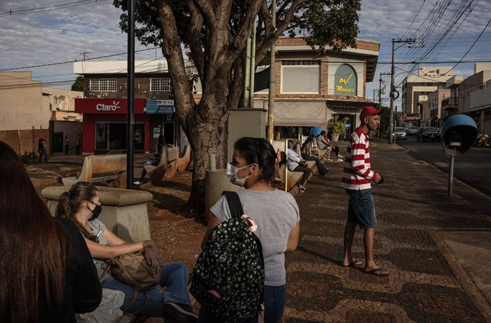 People gather at a park in Serrana, Brazil, on May 26. Photo: Bloomberg