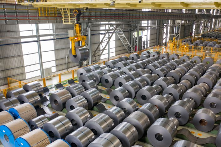 Steel coils fill a workshop on April 8 at a steel company in Hefei, East China's Anhui province. Photo: VCG