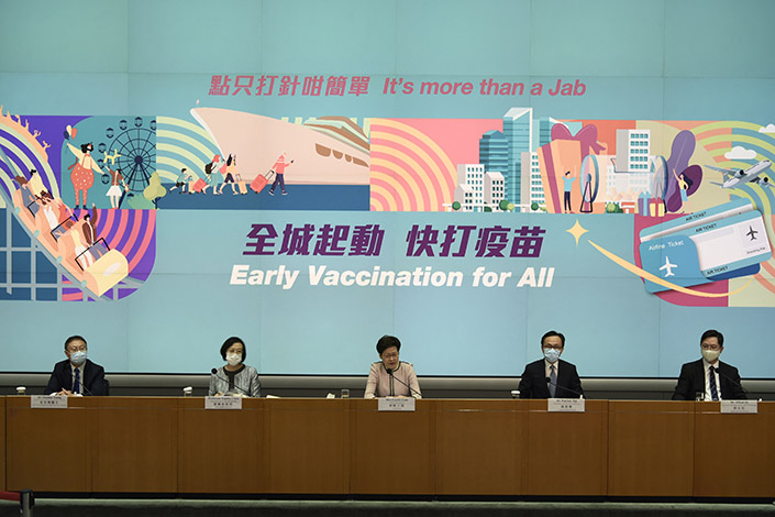 Carrie Lam, chief executive of Hong Kong, speaks at the