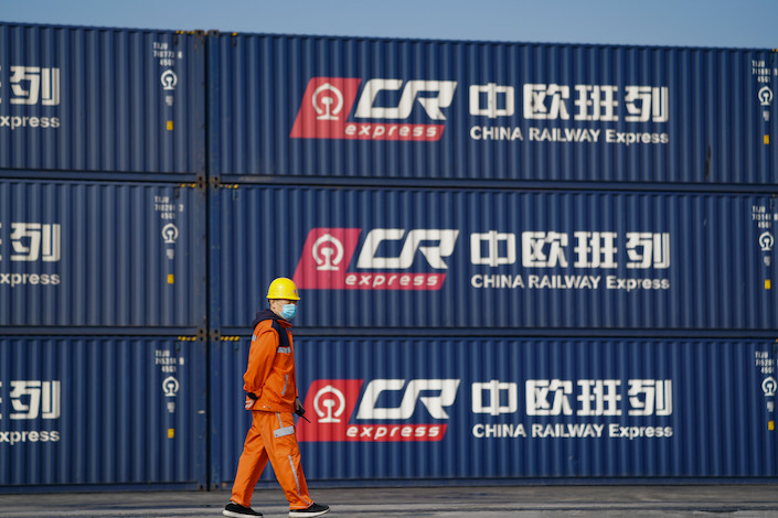 China Railway Express's containers to Europe at its Zhengzhou container center.