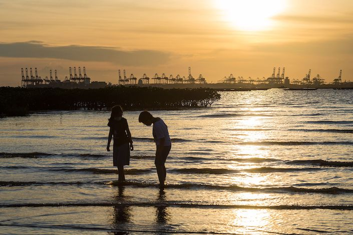 Children play in the sea in front of the mangroves of Ha Pak Nai with the city of Shenzhen in background.