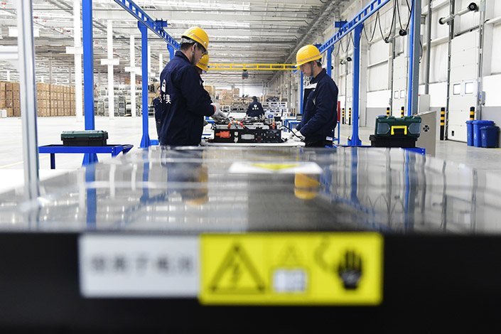 Battery recycling gear is installed in a facility in Tianjin. Photo: IC Photo