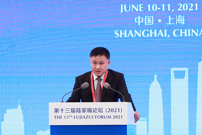 Pan Gongsheng, deputy governor of the People's Bank of China and director of the State Administration of Foreign Exchange, delivered a speech at the 13th Lujiazui Forum, Shanghai, on June 10, 2021. Photo: IC Photo