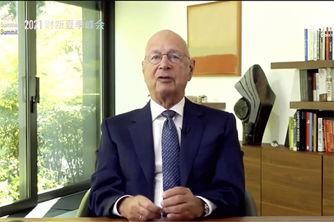 Klaus Schwab, founder and executive chairman of World Economic Forum, speaks at the Caixin Summer Summit.