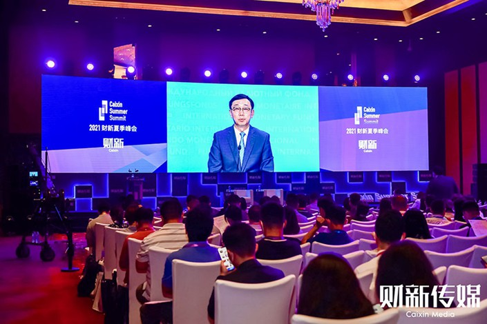 Zhang Tao, a deputy managing director of the International Monetary Fund, delivers a video speech at the Caixin Summer Summit 2021 on Thursday. Photo: Caixin
