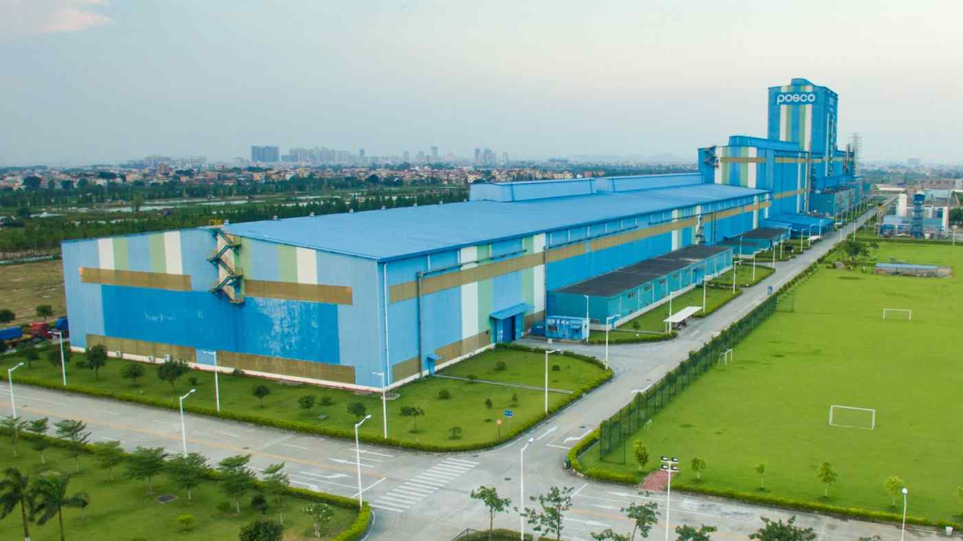 Posco's plant in China's Guangdong Province produces 450,000 tons of automotive steel sheets a year. Photo: Posco