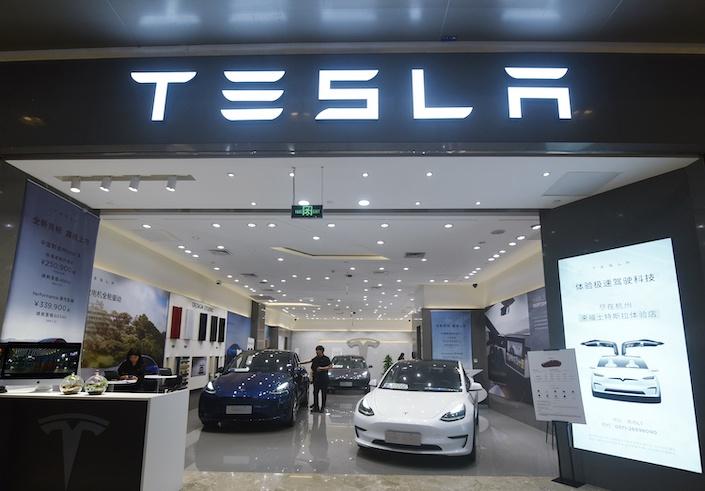 A Tesla store in Hangzhou June 28.