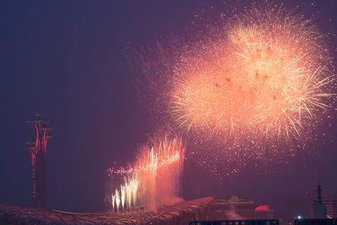 建党百年文艺演出在京举办 焰火盛放鸟巢上空