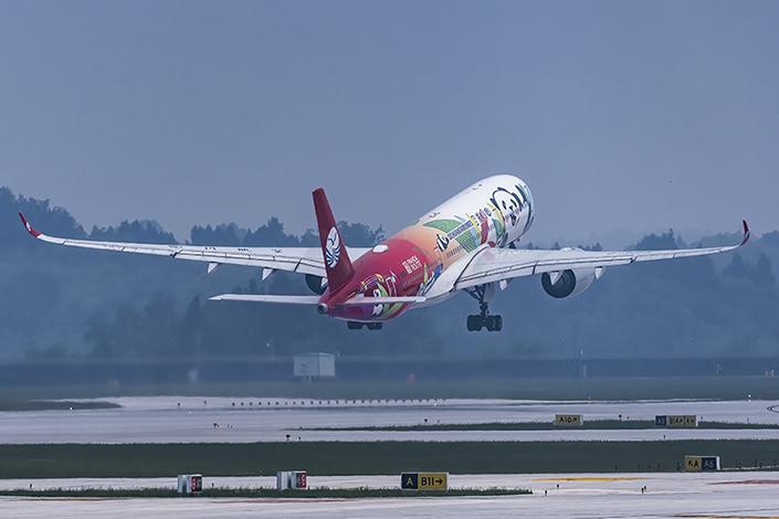 The first flight from Chengdu Tianfu International Airport on Sunday. Photo: VCG