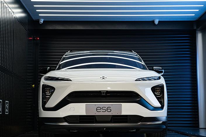 A Nio automobile on display in Shanghai on April 26. Photo: VCG