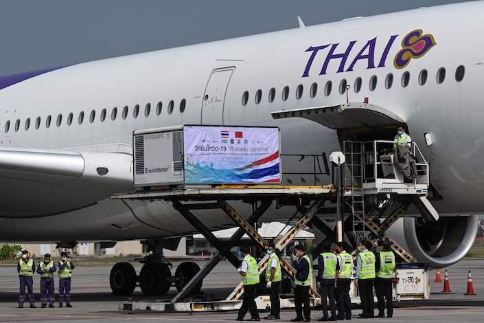 A Shipment of Sinovac's Covid-19 vaccine arrives in Bangkok in February.